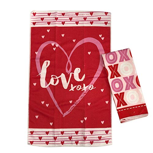 Valentine's Day Kitchen Hand Towels Set of 2 | Hearts, XOXO & Love Valentine Dish Towels | Valentines Day Decorations Kitchen -