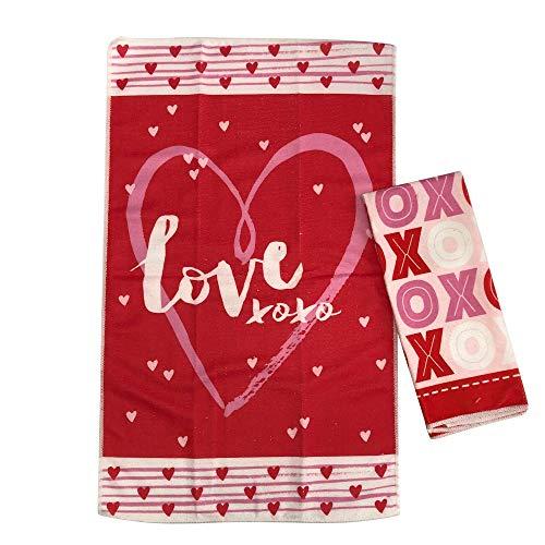 Valentine's Day Kitchen Hand Towels Set of 2 | Hearts, XOXO & Love Valentine Dish Towels | Valentines Day Decorations Kitchen