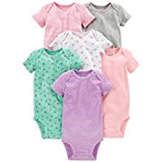 Simple Joys by Carter's Baby Girls 6-Pack Short-Sleeve Bodysuit, Pink/Grey/Mint, Newborn