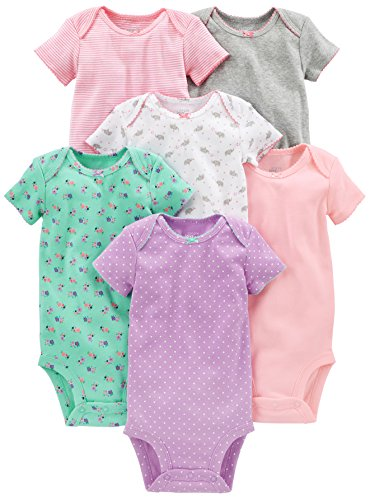 - Simple Joys by Carter's Baby Girls 6-Pack Short-Sleeve Bodysuit, Pink/Grey/Mint, 3-6 Months