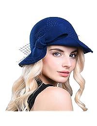 Maitose reg; Women's Wool Felt Bow Flowers Church Bowler Hat