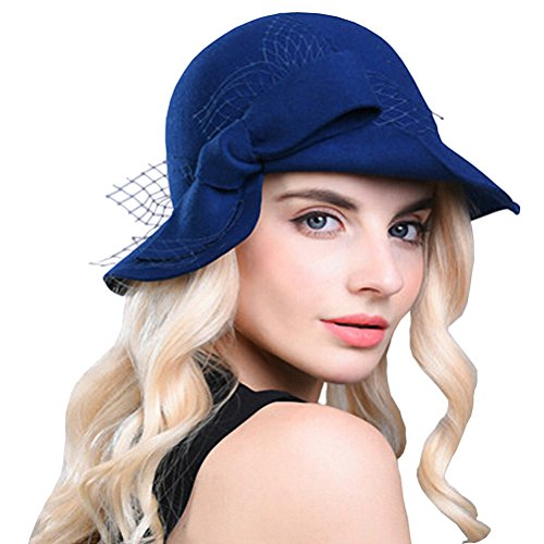 Maitose Women's Wool Felt Bow Flowers Church Bowler Hat Royal Blue