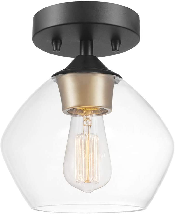 Globe Electric Harrow 1-Light Matte Black Pendant with Clear Glass Shade