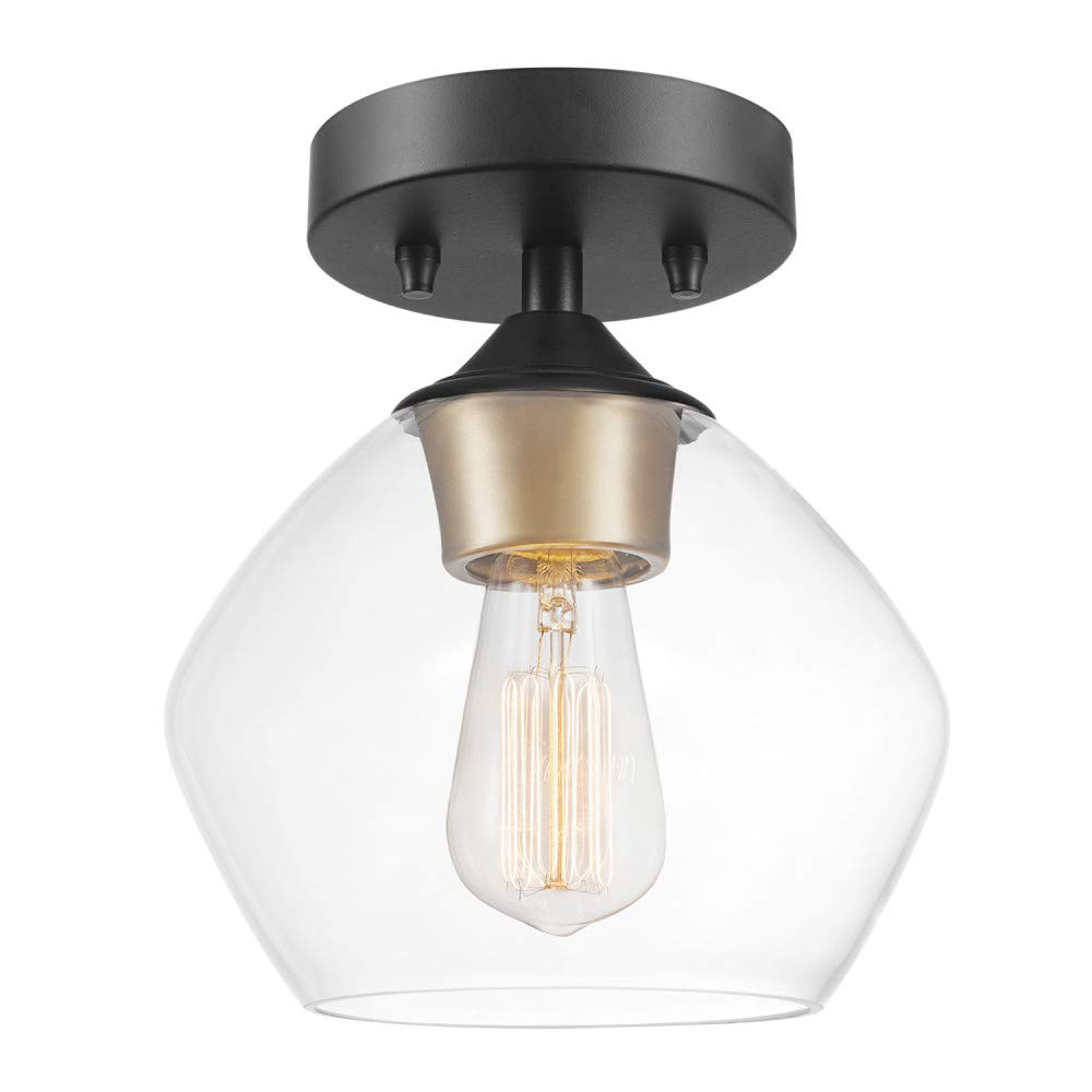 Globe Electric 60333 Harrow Light Semi-Flush Mount, Matte Black with Clear Glass Shade,