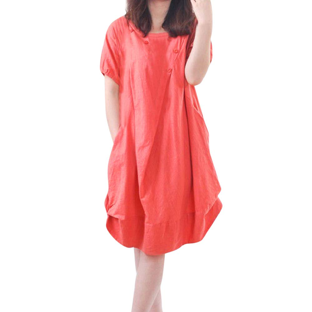 Women's Short Sleeve Round Neck KIKOY Summer Beach Casual Flared Midi Dress