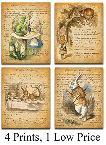 Alice In Wonderland - Set of Four Prints (8x10) Unframed - Makes a Great Gift Under $20 for Home Decor -