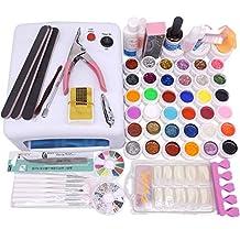 Warm Girl 36w UV Lamp Nail Gel Kit 36 UV Glitter Gel Sets Topcoat Brush Full Nail Art Tools Kit