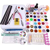 Warm Girl 36w UV Lamp Nail Gel Kit 36 UV Glitter Gel Sets Topcoat Brush Full Nail Art Tools Kit Review