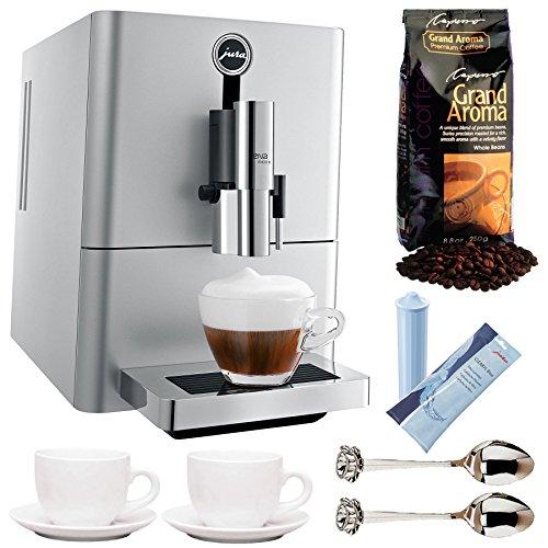 Jura ENA Micro 90 P.E.P. Espresso Machine (Silver) + Espresso Cups, Water Cartridge, Coffee and 2 Demi Spoons Jura