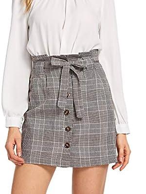 WDIRARA Women's Casual Plaid High Waist Button Closure A-line Mini Short Skirt