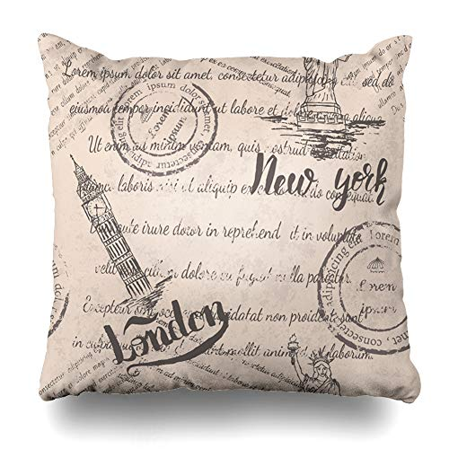 Ahawoso Throw Pillow Cover Famous Travel Faded Text Stamps Statue Liberty Lettering New Big York Ben London On Beige City Design Zippered Pillowcase Square Size 20 x 20 Inches Home Decor Pillow Case]()