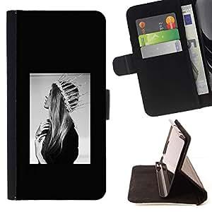 For Apple (5.5 inches!!!) iPhone 6+ Plus / 6S+ Plus Case , Moda de Santa Lucía Santa Dios Negro Blanco- la tarjeta de Crédito Slots PU Funda de cuero Monedero caso cubierta de piel