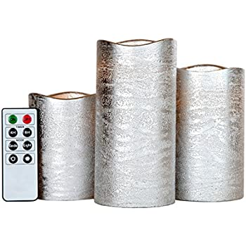 Lily's Home Everlasting Flameless Flickering LED Candles with Remote and Timer, Battery Powered, Scent and Smoke Free, Safe for Use Around Kids and Pets, Silver, Set of 3