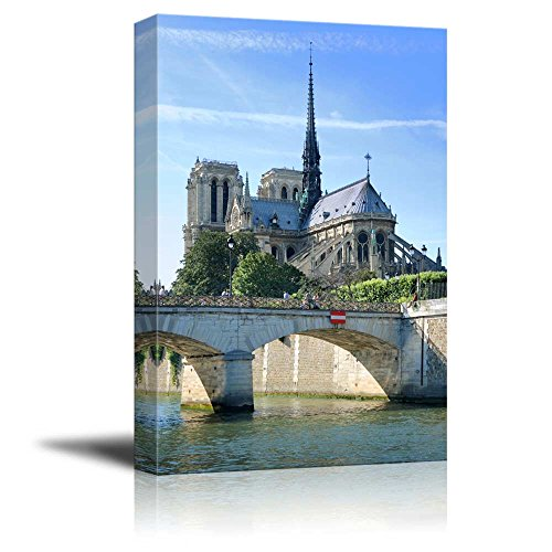 """Canvas Prints Wall Art - Bridge Pont De Archeveche and Cathedral Notre Dame De Paris on Island Cite in Paris, France 