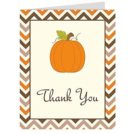 Amazon Com Pumpkin Thank You Cards Baby Shower Birthday Chevron