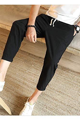 Hx In E Uomo Da Lino Nero Comode Unita Con Fashion Pantaloni Abiti Taglie Tinta Coulisse Cotone Casual 0Prw0qF