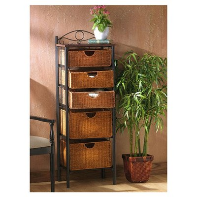 Iron/Wicker Five Drawer Storage Unit- Made from Wicker and Metal- A Traditional Style- Includes Five Wicker Basket Drawers and Four Brown Powder Coated Round Pipes- Has a Brown (Wicker Bathroom Furniture)