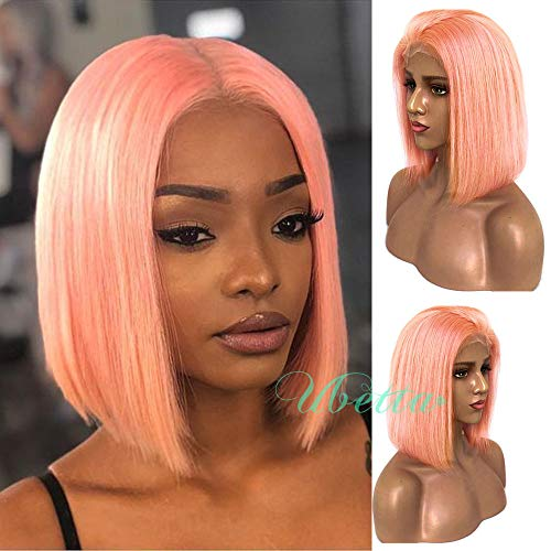 Bob Wigs Pink Human Hair Lace Front Wig Pre Plucked with Baby Hair Glueless Lace Bob Wig Straight Brazilian Virgin Hair Colored Short Bob Wig Middle Part 12 Inch for Women 180% Density -