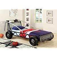 Furniture of America Max Metal Car Bed, Twin, Silver and Black