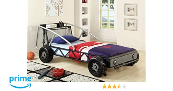 Amazon Com Furniture Of America Max Metal Car Bed Twin Silver And