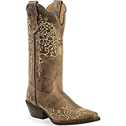 Laredo Womens Taupe Jasmine Leather Cowboy Boots 12in Vine 9 M