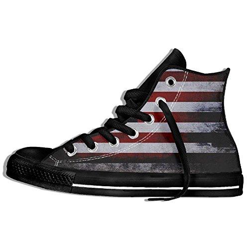 Classiche Sneakers Alte Scarpe Di Tela Antiscivolo Bandiera Americana Casual Da Passeggio Per Uomo Donna Nero