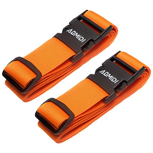Luggage Straps Suitcase Belts for Travel Bag Accessories 2 Pack (Orange)