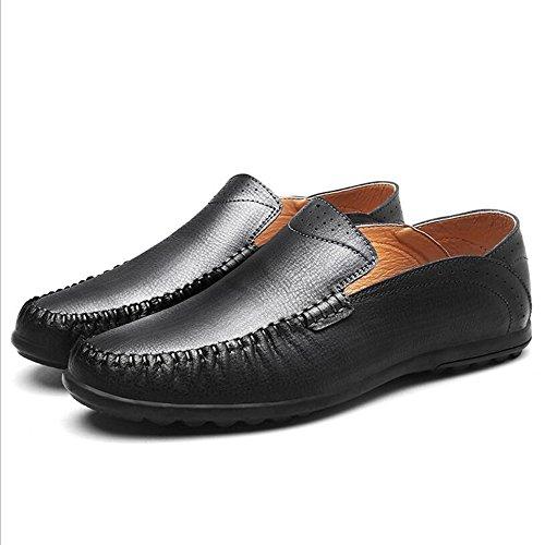 Été Nouveau En Cuir Casual Hommes Chaussures Paresseux Pois Chaussures Confortable Bureau Chaussures Noir Kaki Brun GAOLIXIA