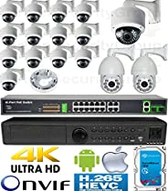 USG 3MP 16 Camera H.265 HD PoE IP CCTV Kit : 1x 24 Channel Ultra 4K NVR + 14x 2MP Dome Cameras + 2x Sony DSP 3MP IP PTZ Camera + 1x PoE Switch + 1x 4TB HD: Apple Android Phone App : 3 YEAR WARRANTY