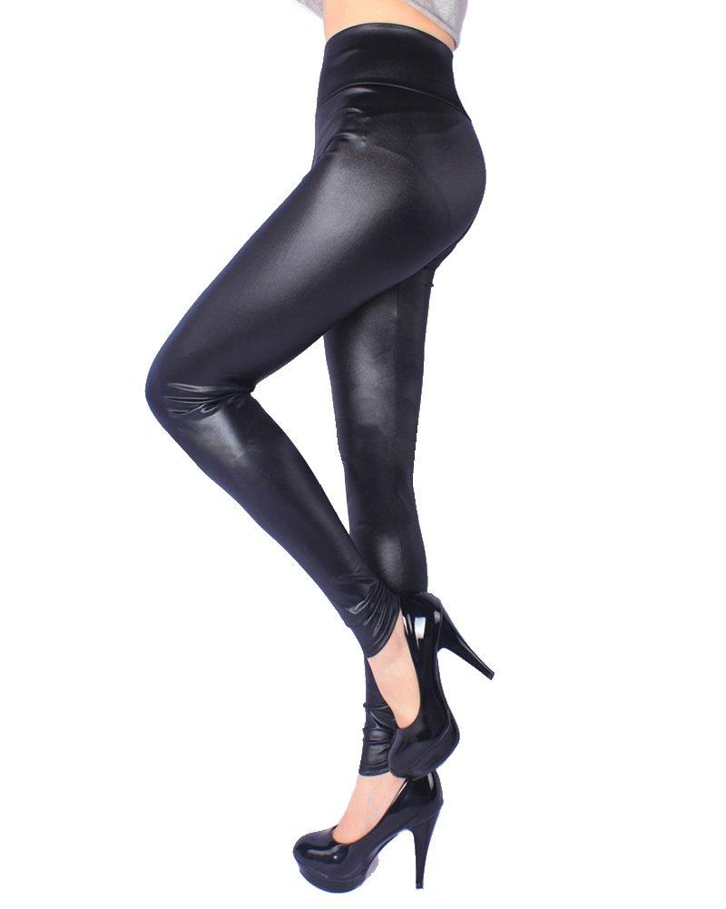SaiDeng Leggings para Mujer De Piel Sintética Cintura Alta Elástica Polainas Más El Tamaño Negro 3XL: Amazon.es: Deportes y aire libre