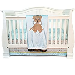 One Grace Place Puppy Dog Pal Boy's Infant Crib Bedding Set, Powder Blue/Sage Green