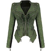 ShesModa Womens Studded Shoulder Denim Jean Jacket Coat Lapel Punk Tuxedo Blazer Motorcycle Jacket