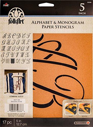 Script Alphabet Letters - Plaid PLA50336 Stencil Folk-Art Paper Alphabet & Monogram Script, 5