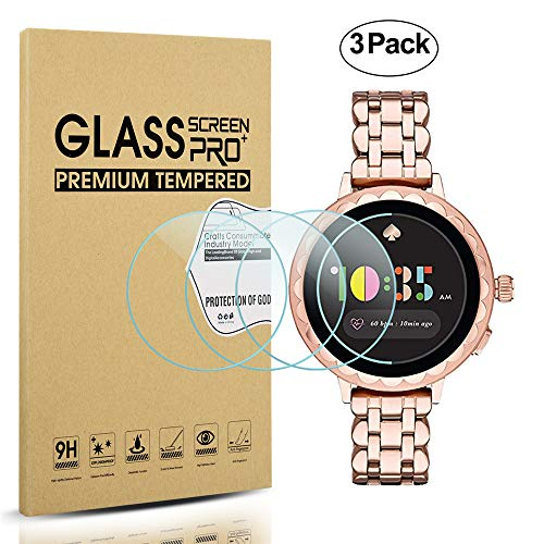 Diruite 3-Pack for Kate Spade Scallop 2 Smartwatch Screen Protector Tempered Glass [2.5D 9H Hardness] [Anti-Scratch] [Bubble-Free] - Permanent Warranty Replacement (Small Scallops)