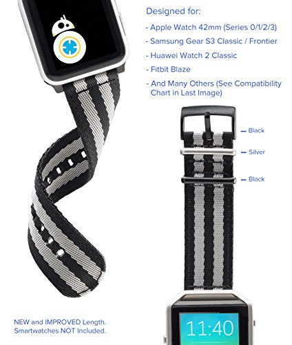 [Upgraded] Truffol 22mm NATO Woven Nylon Band for Apple Watch 42mm, Samsung Gear S3 Frontier & Classic, Huawei Watch 2 Classic - Replacement Watch Strap with Steel Buckle (Space Black/Silver)