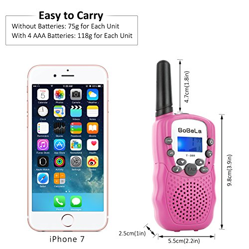 Bobela Cute Walkie-Talkies for Women Hiking - T-388 Portable Walky-Talky with Flashlight for Adults Girls Wakie-Talkies with FCC PTT Mic 22 Channels for Kids as Cool Personalized Gifts (Pink 2 Pack) by Bobela (Image #3)