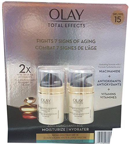 Total Effects Anti-Aging Face Moisturizer with SPF 15 and Vitamin B3+, Fragrance Free - 1.7 Fl Oz / 50 mL x 2 Pack