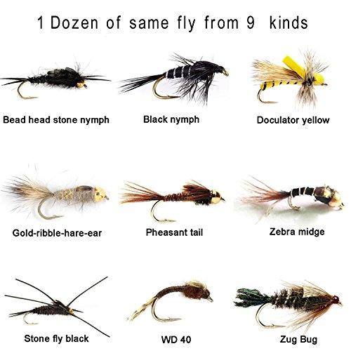 - Riverruns Aventik 12 Pieces Top Rating Mayfly Stonefly Nymph Midge Nymph Flies Nymph Trout Fly Fishing Flies Fly Super Sturdy FliesRealistic Look(1 Dozen) (#8, Stone Nymph Doculator Yellow)