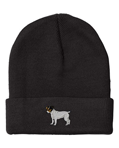 Jack Russell Terrier Embroidery (Jack Russell Terrier Embroidery Embroidered Beanie Skully Hat Cap Black)