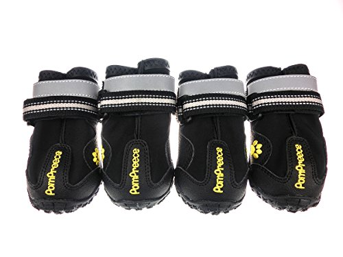 Xanday Dog Boots Waterproof Dog Shoes Paw Protectors with Reflective Straps and Wear-resisting Soles 4Pcs(Black03) (Boots Weather Dog)