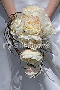 2pcs Pink Garden Rose Roses Silk Flower David Austin Rose Silk Flowers for DIY Wedding Bridal Bouquet Floral Arrangement Home Decor