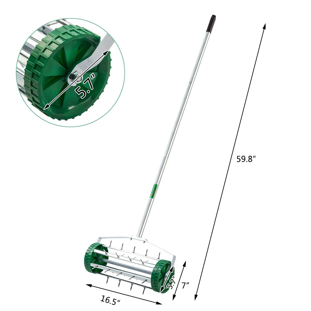 VINGLI Rolling Lawn Aerator with 51'' Handle, Push Spike Tine Roller for Home Garden Yard Patio Grass Soil Aeration, Roller Secured by Fasteners by VINGLI (Image #6)