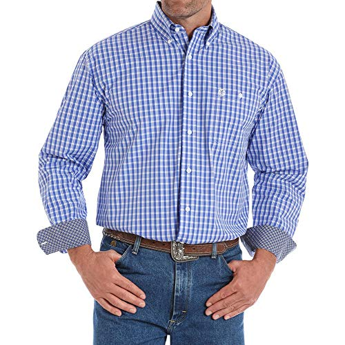 Wrangler Apparel Mens George Strait Long Sleeve Check Shirt XXL Blue