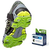 STABILicers Run Traction Ice Cleat, Tread for Running in Snow, Ice, Rain, Attaches over Shoes for Safety in Outdoor, Winter, Slippery Terrain/Trails, X-Large (13-14 Men), Gray/Green