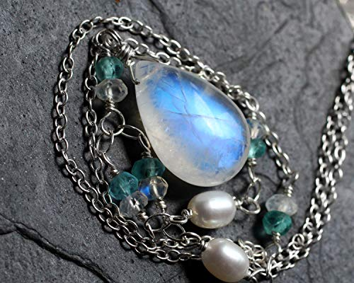 (Moonstone Necklace, Pearl Necklace, Apatite Necklace, Rainbow Moonstone Jewelry, Moonstone Pendant, Sterling Silver, Handmade,