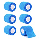 GouGou Self-Adhesive Tape Bandage Rolls Non-woven Ventilate Flexible Wrap for Soccer Basketball Sports Ankle Waist Knee Finger Elbow Ankle Support Tape 6PCS Blue 2 in X 14.7 ft