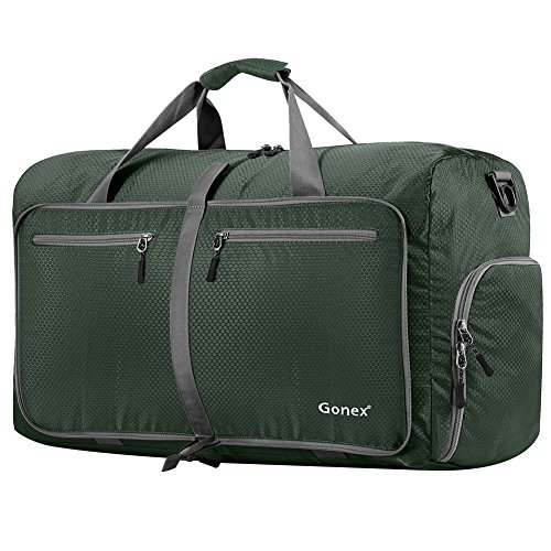 Gonex 80L Foldable Travel Duffle Bag for Luggage, Gym, Sport, Camping, Storage, Shopping Water & Tear Resistant Dark Green