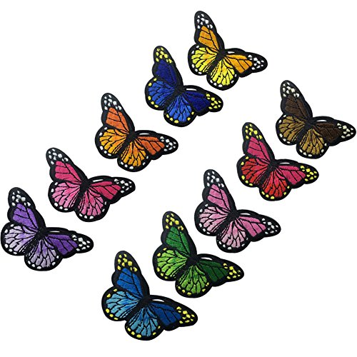 (XUNHUI Blue Pink Red Purple Orange Green Butterfly Iron on Patches for Clothing Applique Embroidery 10 Pieces)