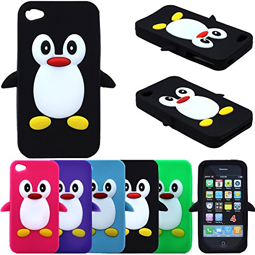Cute Penguin Animal Silicone Case for Iphone 4 and 4S-Black