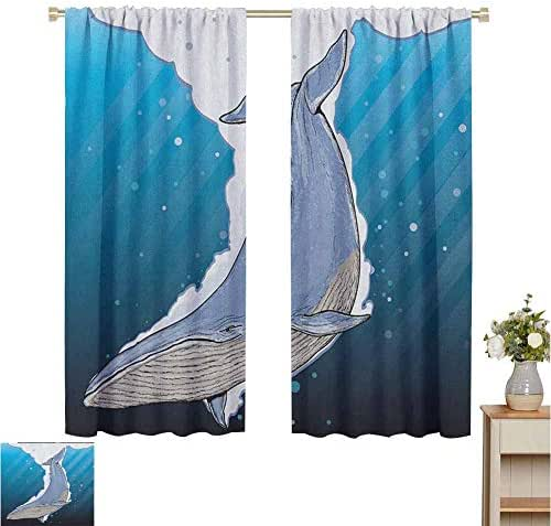June Gissing Whale Curtain Panels Cartoon Whale Swimming Under Ocean with Fish Shells Near Palm Island Environment Décor Darkening Curtains W55 x L45 Multi Colored